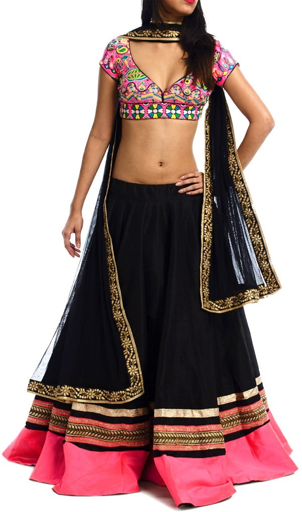 black and neon pink chaniya choli