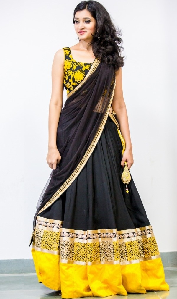 black and yellow designer lehenga choli