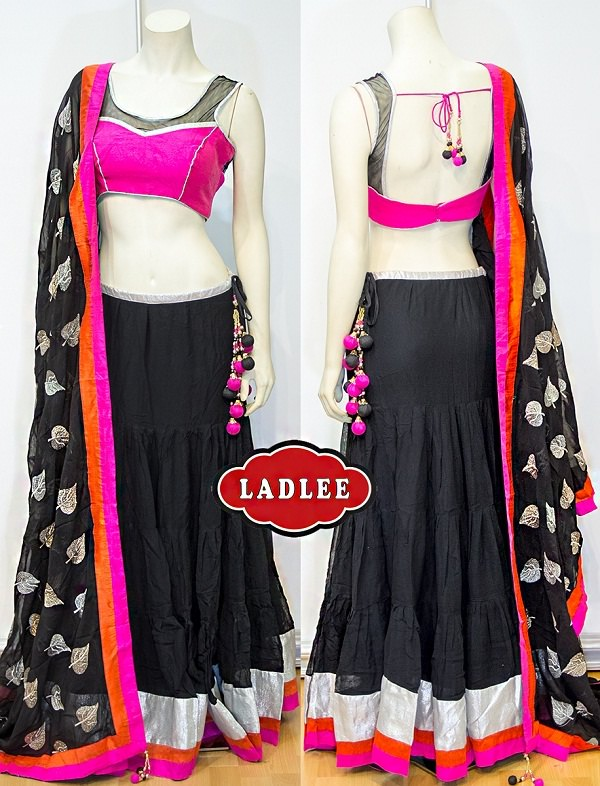 black and neon pink chaniya choli with sequin dupatta
