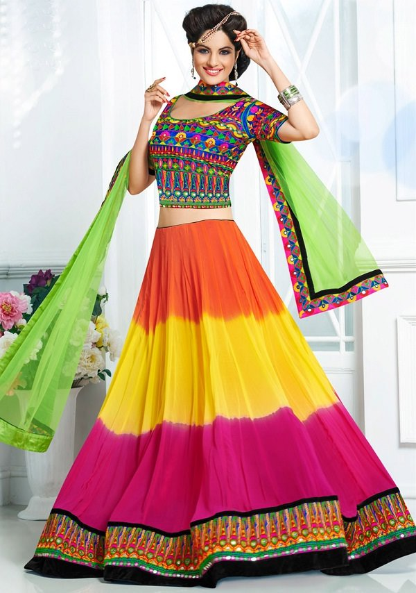 orange, yellow and pink lehenga with embroidered choli