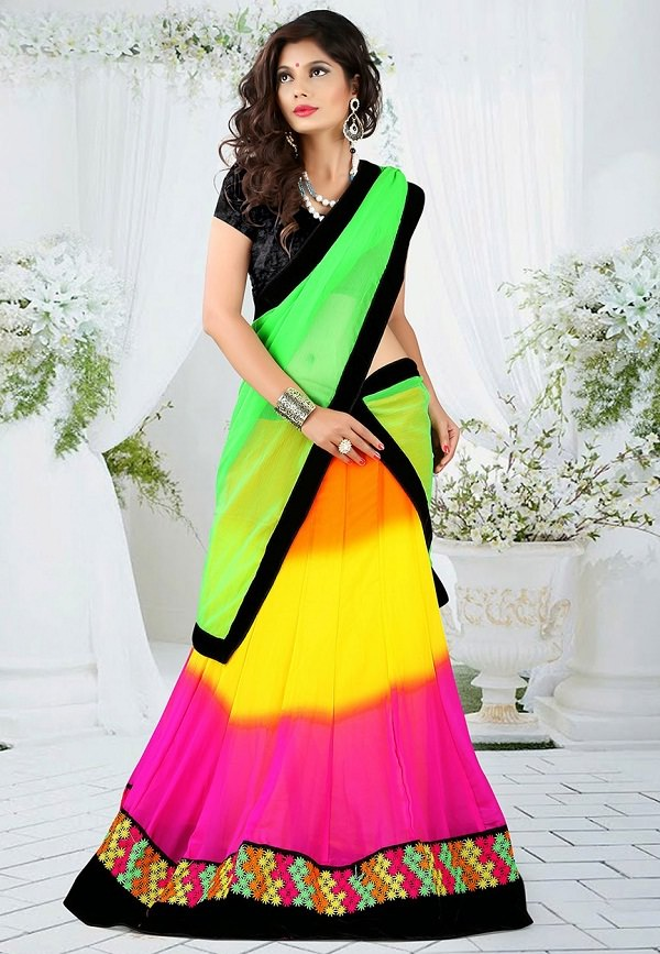 multi color neon lehenga with black choli