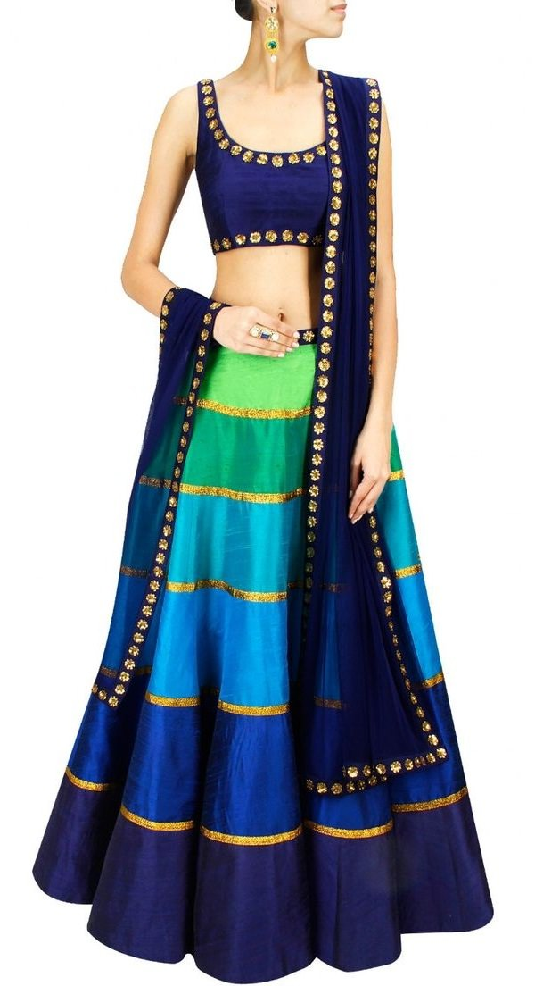 peacock shaded ombre designer lehenga choli