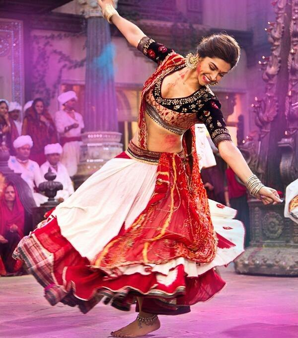 red and white layered chaniya choli worn by deepika in ramleela