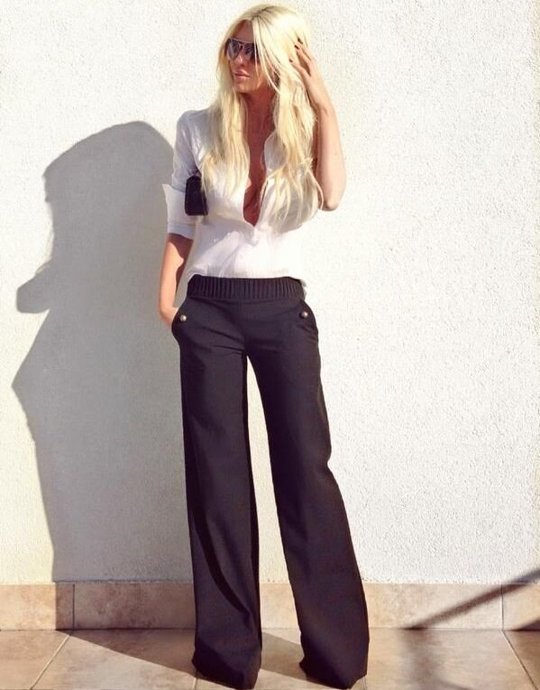 13 expert tips to wear palazzo pants for fabulous look for White shirt black pants