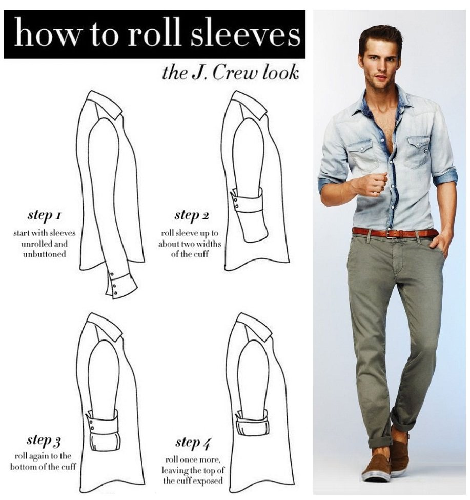 Rolling up sleeves allows air to directly flow over more of your skin. A relaxed attitude at the end of a hard day's work. Rolled up sleeves can dress down a formal outfit. Preparation for physical labor. Rolled up shirt sleeves are the universal symbol to indicate men at work.