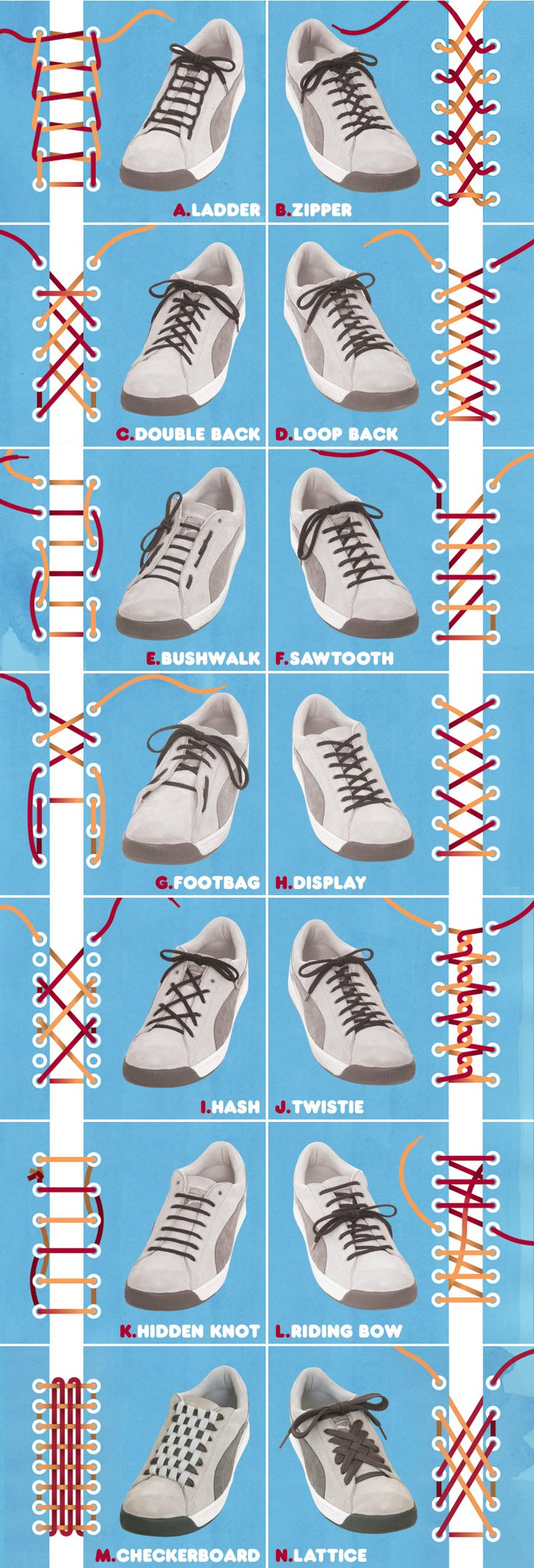 Different Types Shoe Lacing Styles