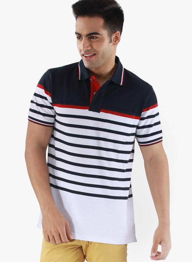 26 polo t shirts that you won 39 t believe are just below rs for Red white striped polo shirt