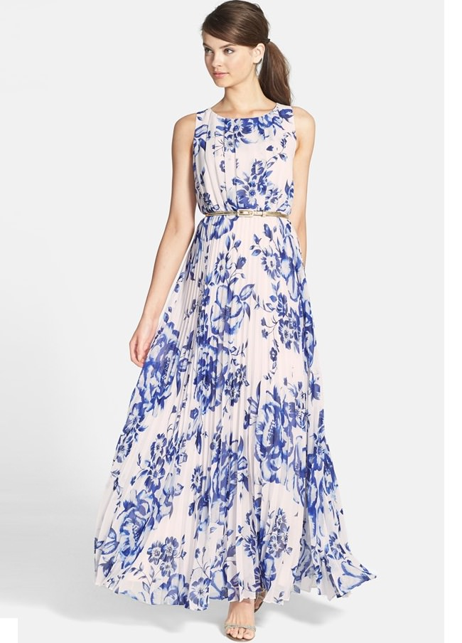 White print belted maternity dress
