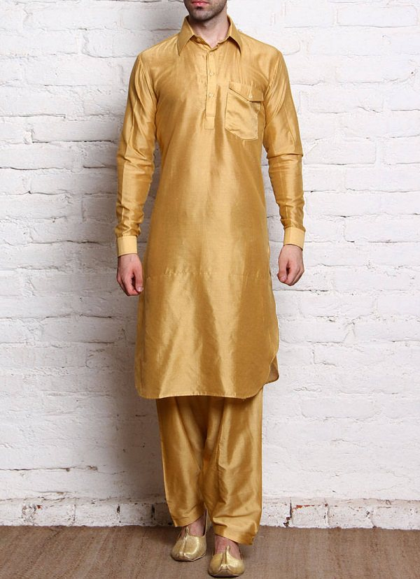 golden cotton silk pathani suit of indian state jammu kashmir