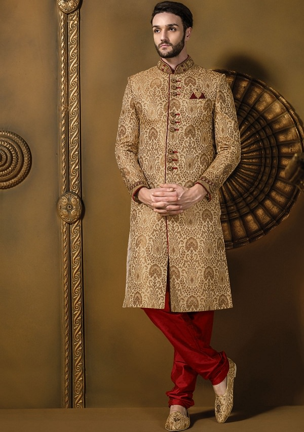 beige indian traditional sherwani of uttar pradesh, names of traditional dresses of indian states