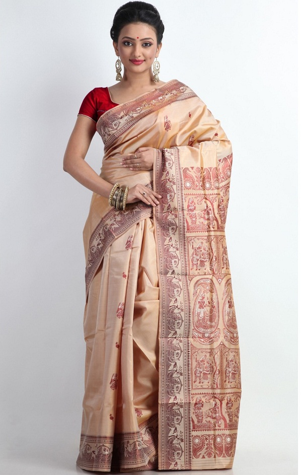 beige resham minawork baluchari saree of west bengal