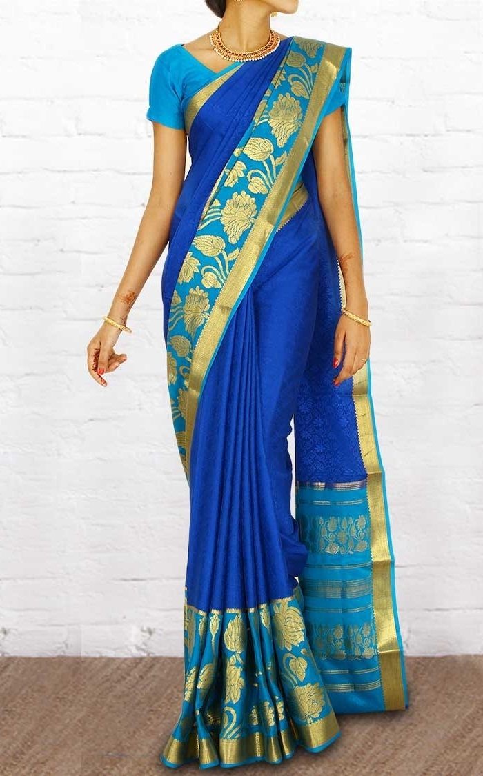 blue mysore silk saree of karnataka, dresses of indian states chart
