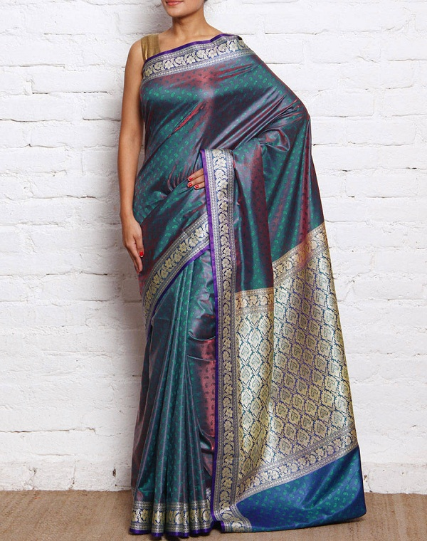 bluish green banarasi tanchoi silk saree of gujarat