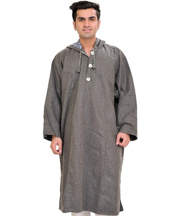 gray pure wool phiran from indian state jammu & kashmir with hood