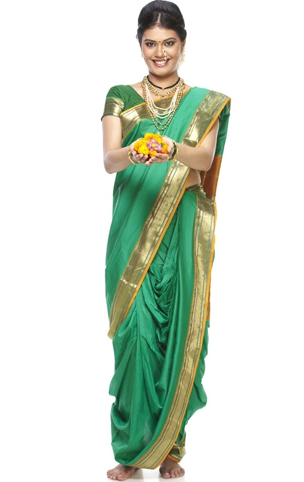 lugade or nauvaree a nine yard maratha saree of maharasthra, indian dresses state wise list