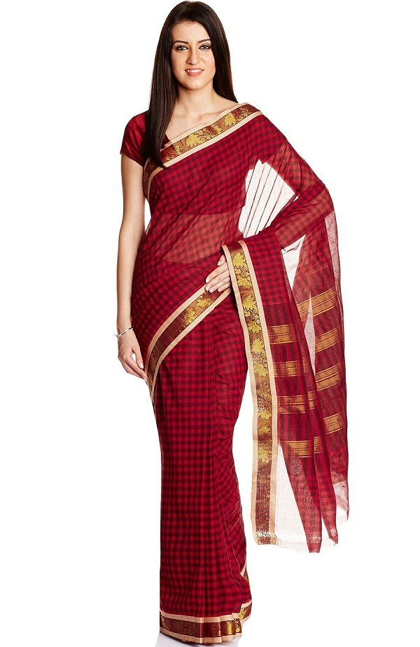 maroon madurai pure cotton handloom saree, indian traditional dresses of different states images