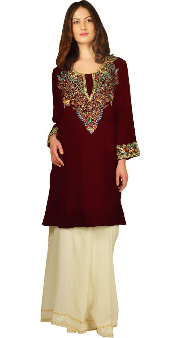maroon thread embroidered pure wool kashmiri phiran