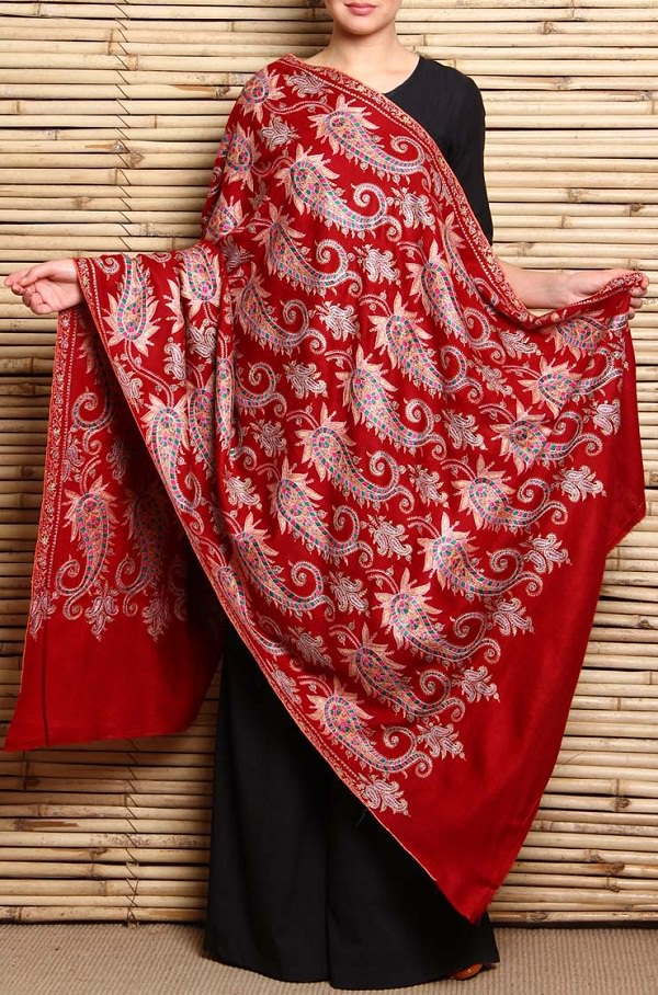 maroon the heritage grand pashmina kashmiri shawl