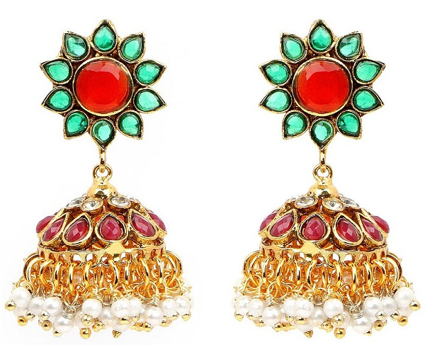 rajasthani multi stone gold plated jhumka earrings