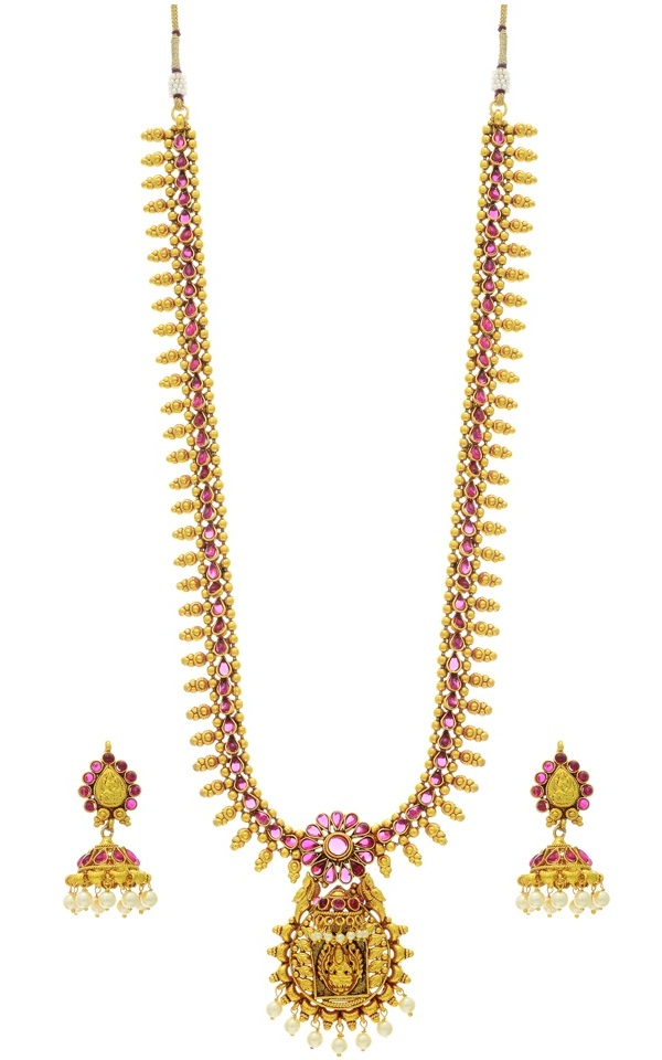 golden antique long haaram necklace set of karnataka