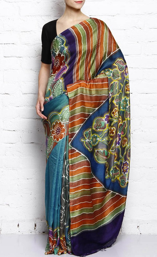multicolor hand painted muga silk saree, traditional dresses of india state wise
