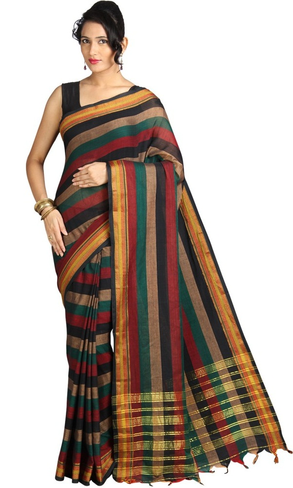 multicolor striped mangalagiri cotton saree