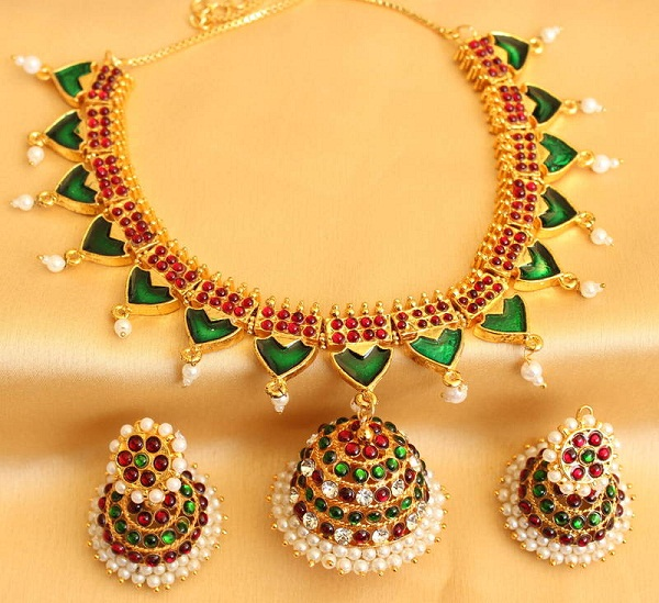 antique traditional kemp palakka neckalace set