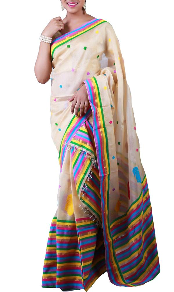 off white raw tussar silk saree, dresses of india state wise