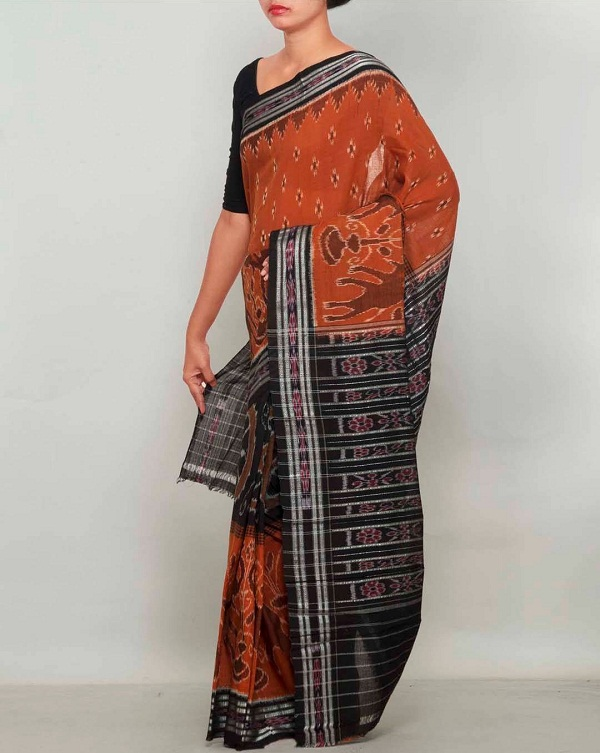 burnt orange handloom bomkai pure cotton sari, names of traditional dresses of indian states