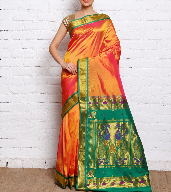 orange & green paithani saree with zari peacock palla