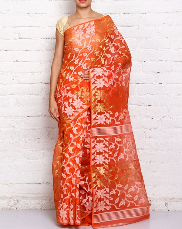 orange jamdani cotton silk saree of west bengal