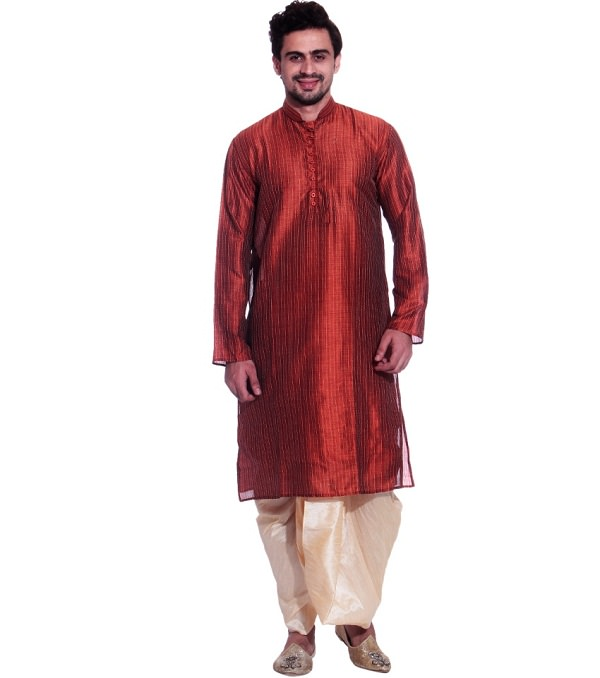 orange long kurta with dhoti of indian state bihar