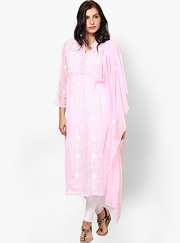 pink chikankari embroidered kurta dupatta set of uttar pradesh
