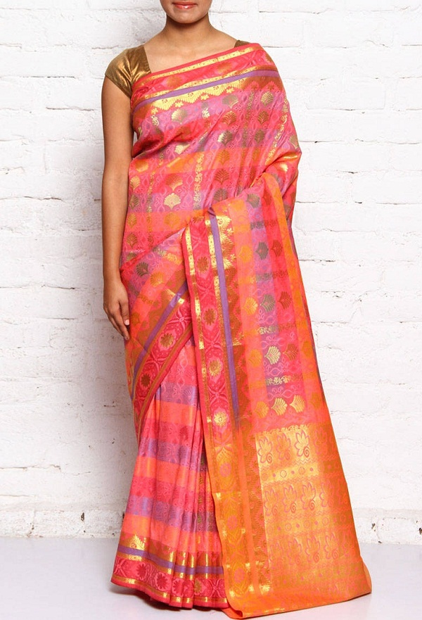 pink kanchipuram silk saree of tamilnadu