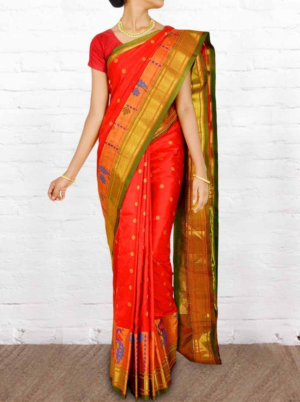 red gadwal cotton pure zari saree