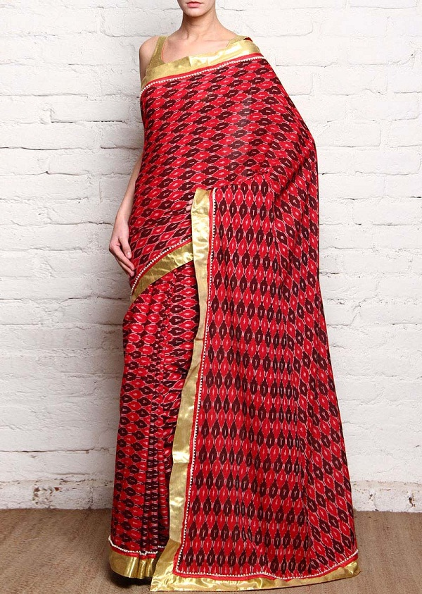red & brown ikat cotton silk saree