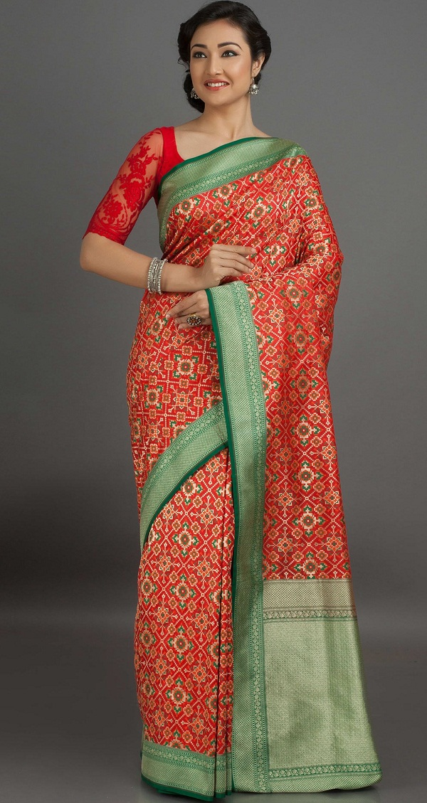 red green rangoli pattern patola silk saree