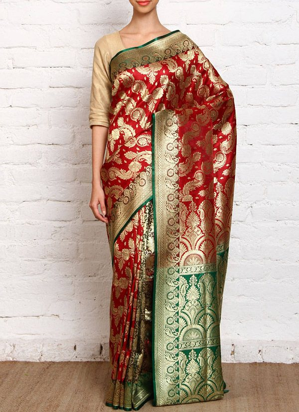red & green banarasi silk printed brocade saree of uttar pradesh, dresses of indian states chart