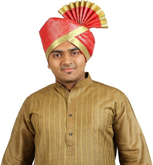 red solid polyester pagri of maharashtra