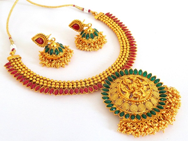 indian bridal lakshmi temple necklace set of tamilnadu