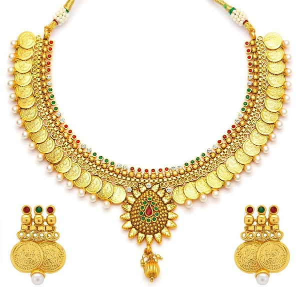 kasu mala a gold plated temple jewellery coin necklace set of kerala