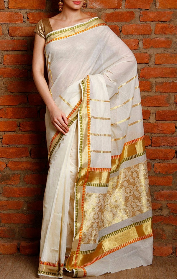 white kerala kasavu saree with zari work