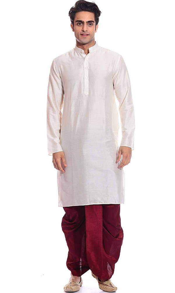 white silk dhoti kurta set, list of traditional dresses of indian states