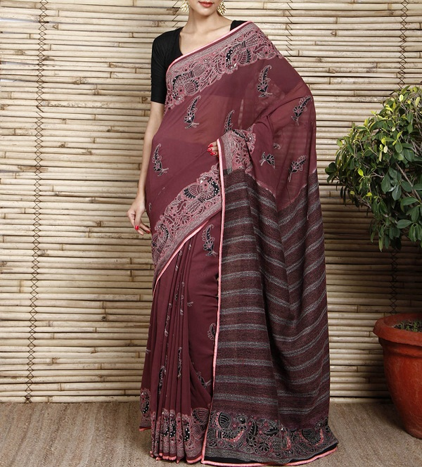 wine kantha work georgette saree of west bengal