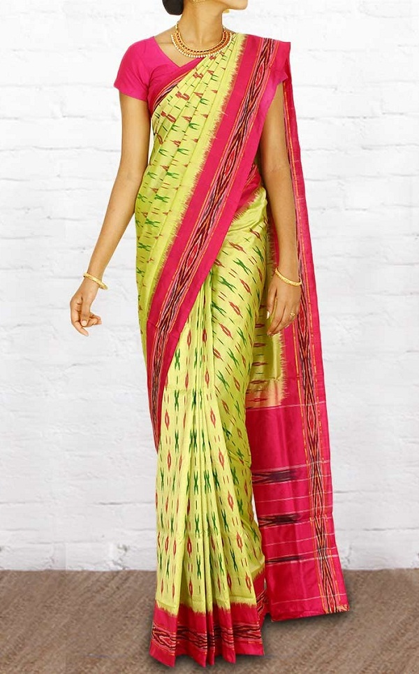 light green printed pochampally silk saree, list of traditional dresses of indian states