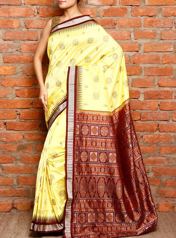 yellow & maroon sambalpuri silk woven saree