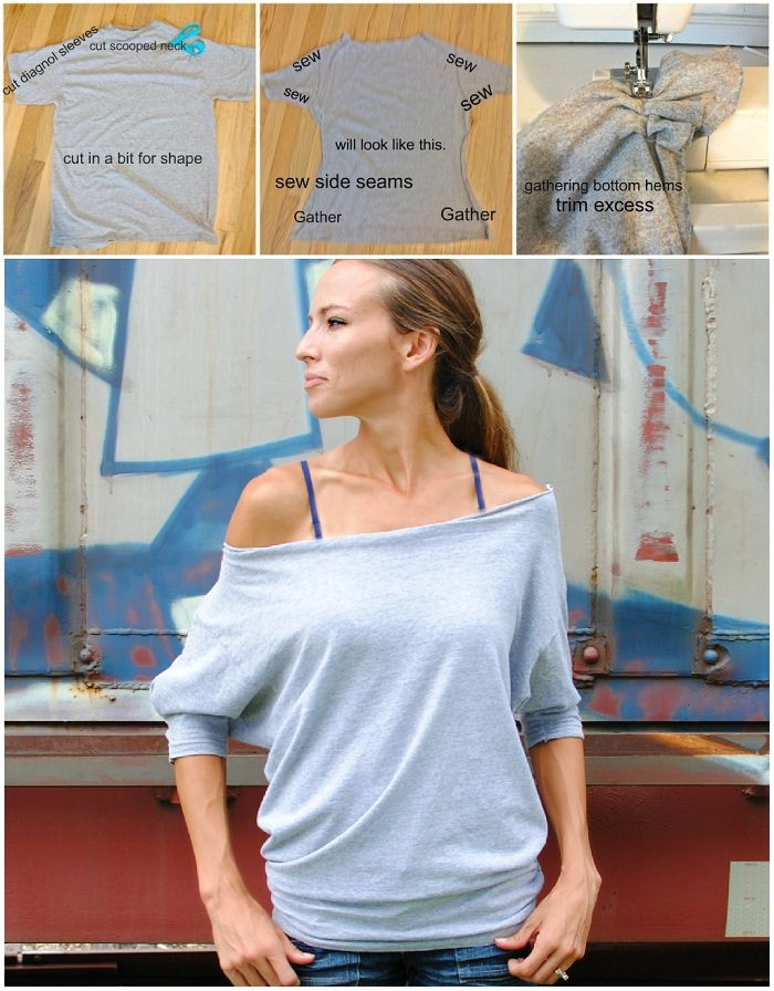 Tee to an off-shoulder Top