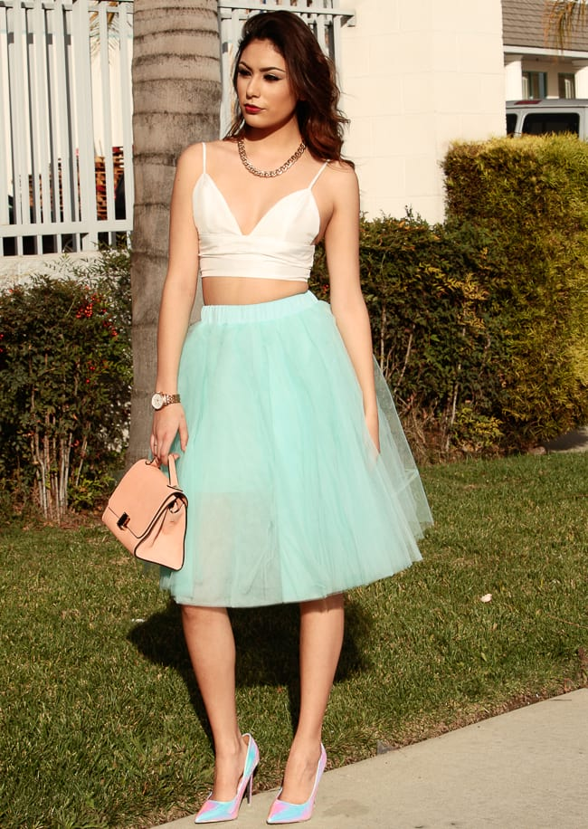 make a classy chic look with flowy tulle skirt and bralette, matching bralet and skater skirt or pencil skirt